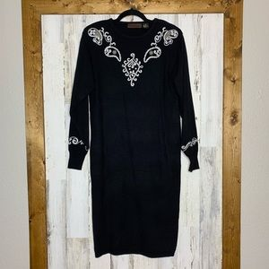 VTG 90's Yarnworks embroidered midi sweater dress